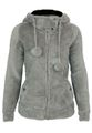 Urban Surface Damen Teddy Fleecejacke mit Öhrchen und Kapuze 015