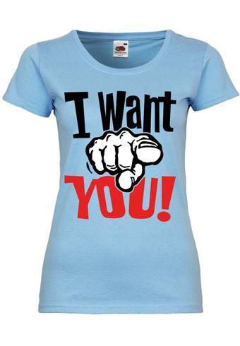 M34 F288N Damen T-Shirt mit Motiv I Want You