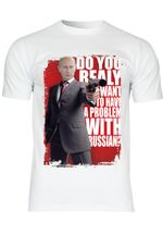 M36 F140 Herren T-Shirt mit Motiv Putin Problem with Russian
