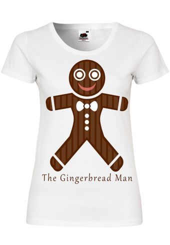 M105 F288N Damen T-Shirt mit Motiv The Gingerbread Man