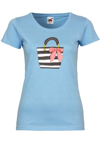 UL118 F288N Damen T-Shirt mit Motiv Pink Bow Bag