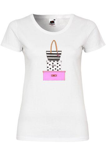 UL119 F288N Damen T-Shirt mit Motiv Pink Bow Bag and Boxes