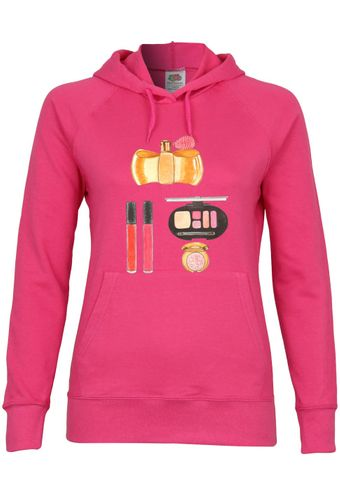 UL56 F435 Damen Kapuzen Sweatshirt Hoodie mit Motiv Pink Make-up