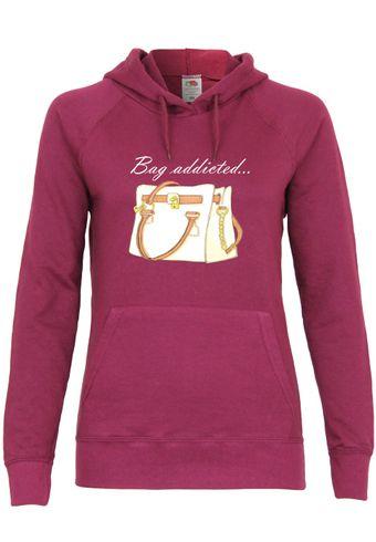 UL138 F435 Damen Kapuzen Sweatshirt Hoodie mit Motiv Bag Addicted...