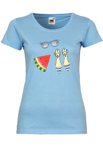UL125 F288N Damen T-Shirt mit Motiv Fashion and Watermelon
