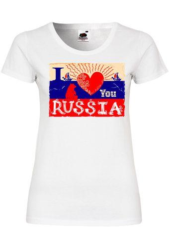 M126 F288N Damen T-Shirt mit Motiv I Love You Russia