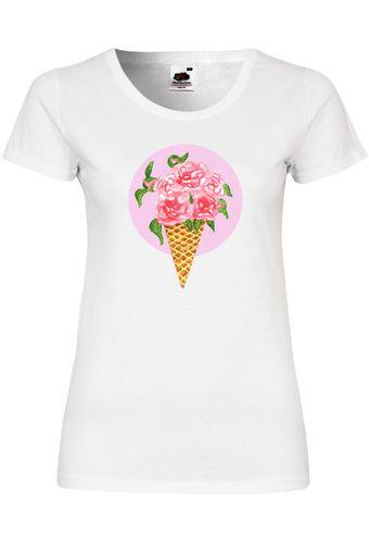 UL150 F288N Damen T-Shirt mit Motiv Flower Cornet