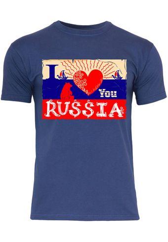 M126 F140 Herren T-Shirt mit Motiv I Love You Russia