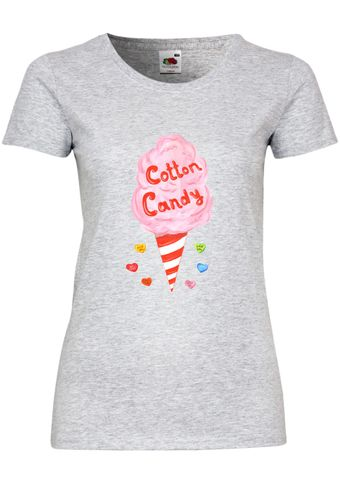 UL154 F288N Damen T-Shirt mit Motiv Cotton Candy