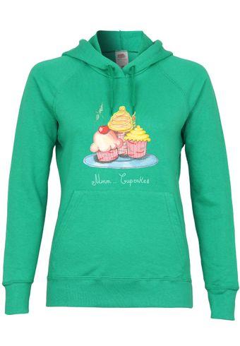 UL76 F435 Damen Kapuzen Sweatshirt Hoodie mit Motiv Mmm Cupcakes