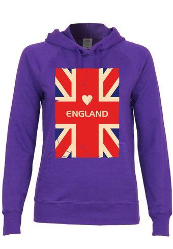 M128 F435 Damen Kapuzen Sweatshirt Hoodie mit Motiv I Love England