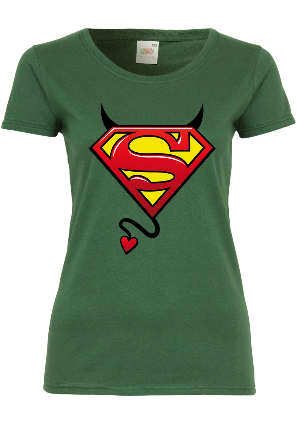 M132 F288N Damen T-Shirt mit Motiv Evil SupermanComic Superheld Print Kurzarm