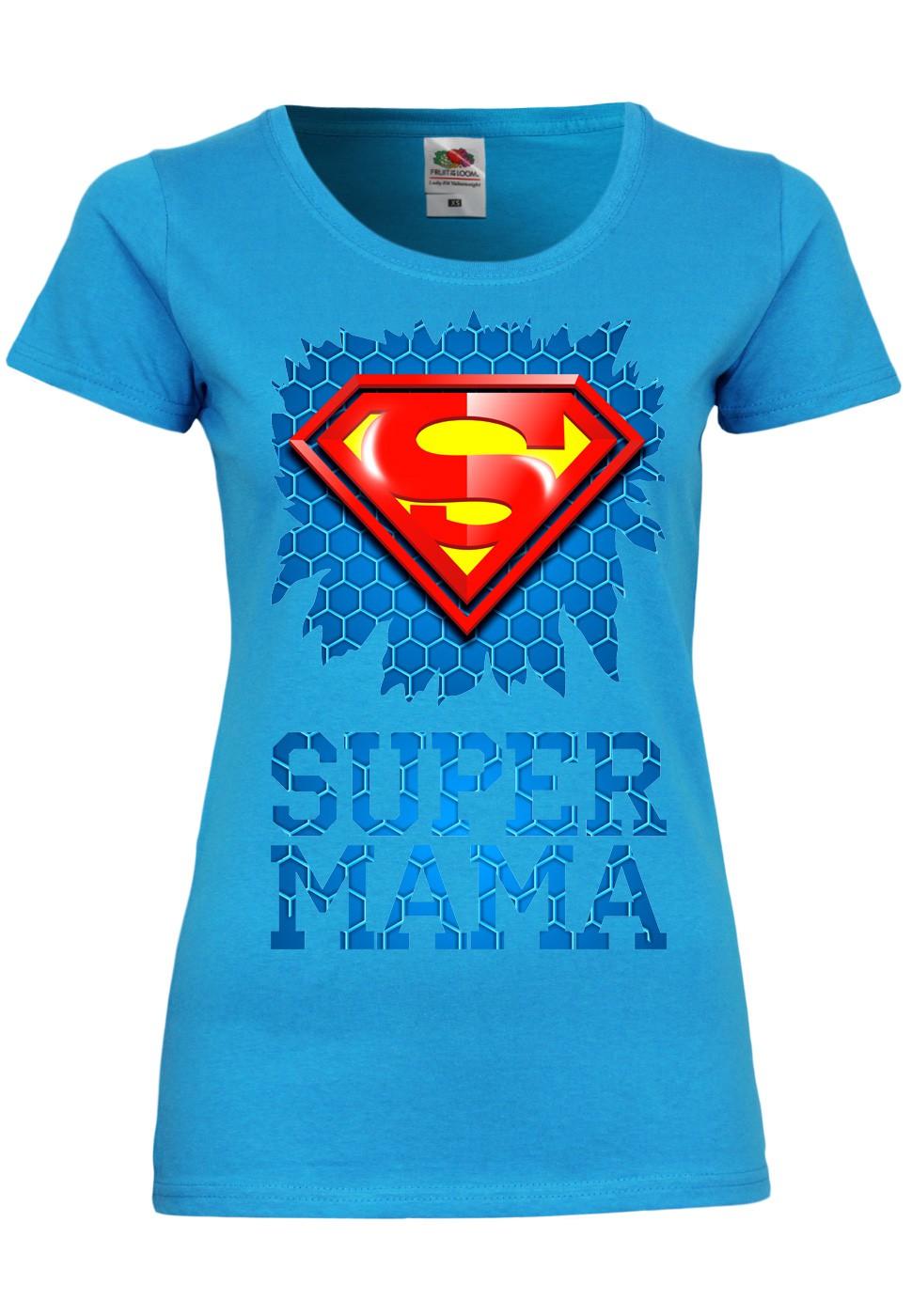 M135 F288N Damen T-Shirt mit Motiv Super MamaMuttertag Geschenk Print Kurzarm