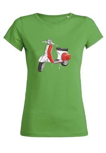 ul11 Damen T-Shirt Wants Moped with Italian Flag