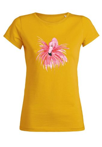ul19 Damen T-Shirt Wants Fluffy Red Flamingo