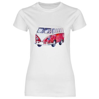 ul28 Damen T-Shirt VW Bus T1 in rot