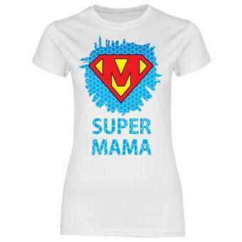 rs87 Damen T-Shirt Super Mama Superheldin HG Blau