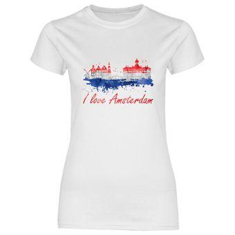 rs101 Damen T-Shirt I love Amsterdam mit Fahne