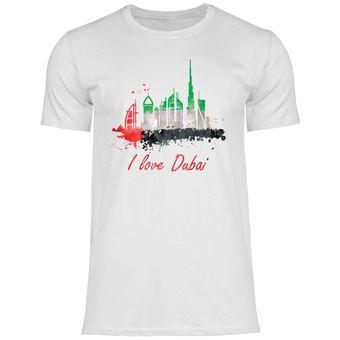 rs105 Herren T-Shirt I love Dubai mit Fahne