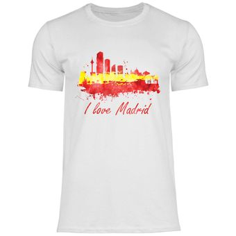 rs109 Herren T-Shirt I love Madrid mit Fahne
