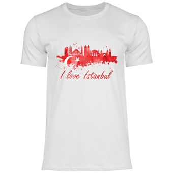 rs117 Herren T-Shirt I love Istanbul mit Fahne