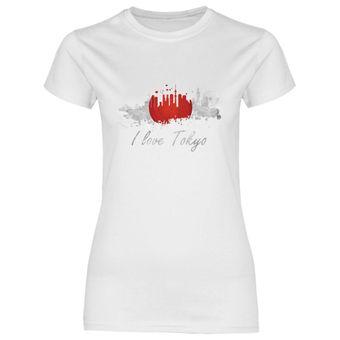 rs119 Damen T-Shirt I love Tokio mit Fahne